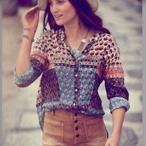 FREE PEOPLE Caravan Patchwork Boho Buttoned Blouse